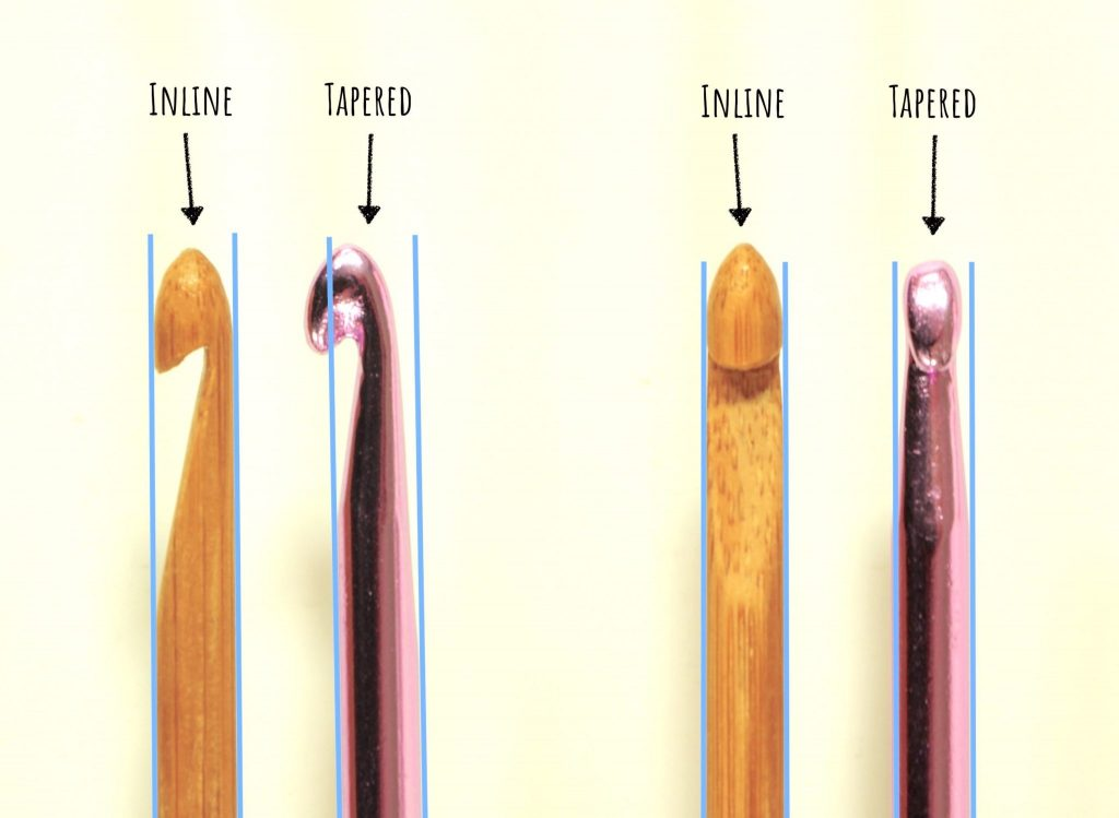 Nea Creates. Crochet basics 1. Inline vs tapered crochet hooks.