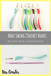 This is a written review of the ergonomic Addi Swing crochet hooks. We talk about material, looks and usability. With images and measurements. | Nea Creates