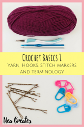 In the first lesson of Crochet basics we'll learn about yarn, hooks, stitch markers and terminology. Join us and learn how to crochet! | Nea Creates