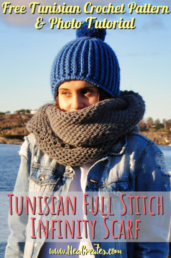 Follow this FREE Tunisian crochet pattern and crochet this gorgeous and warm Tunisian Full Stitch Infinity Scarf! It makes a great gift too! | Nea Creates