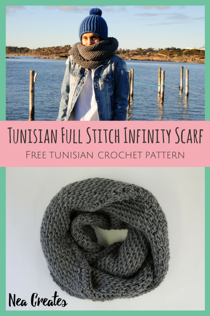 Tunisian Full Stitch Infinity Scarf: Free Tunisian Crochet Pattern | Nea Creates