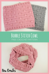 Crochet the super cute and quirky Bobble Stitch Cowl using this easy and FREE crochet pattern! You can crochet the cowl in either of the three sizes available, small, medium or large! | Nea Creates