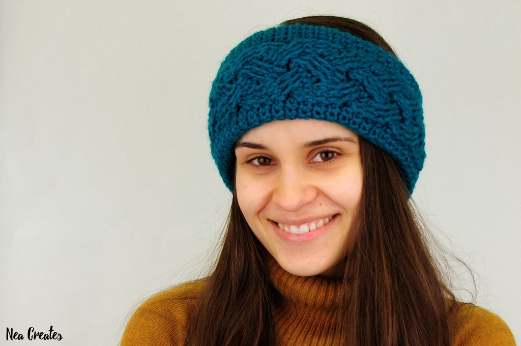 Crochet this beautiful Cabled Headband / Earwarmer using this Free crochet pattern! The size of the headband can be adjusted to fit anyone! | Nea Creates
