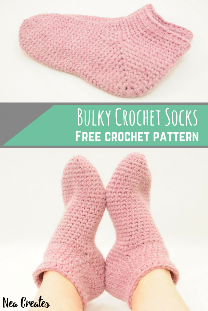 Make these Bulky Crochet Socks using this FREE crochet pattern! The pattern is for one size but tips and tricks for adjusting the size are available too! | Nea Creates