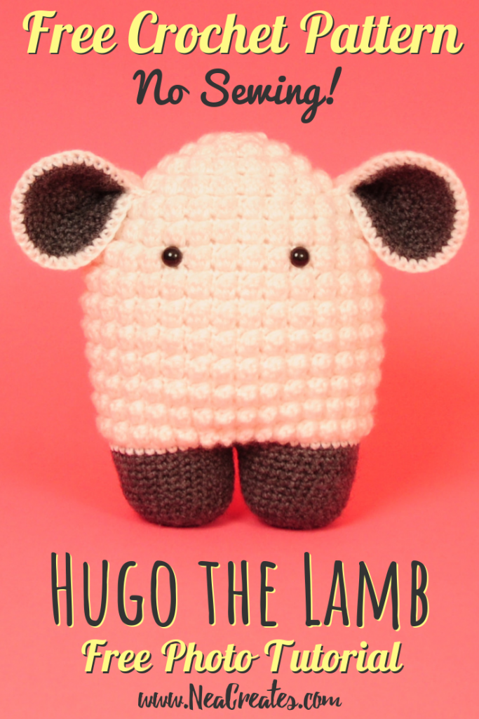 Crochet Hugo the Lamb using this FREE amigurumi pattern! Intermediate difficulty crochet pattern and no sewing on of parts, yay! #freecrochetpattern | Nea Creates