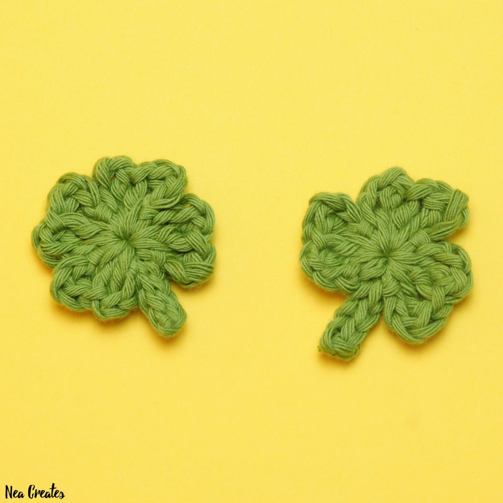 Crochet these super cute Shamrock Appliqués for Saint Patrick's Day using this quick and easy FREE crochet pattern! #shamrock #crochetshamrock #freecrochetpattern