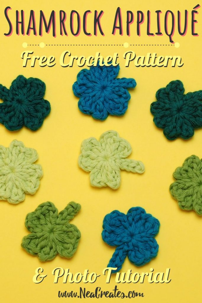 Crochet these super cute Shamrock Appliqués for Saint Patrick's Day using this quick and easy FREE crochet pattern! #shamrock #crochetshamrock #freecrochetpattern | Nea Creates
