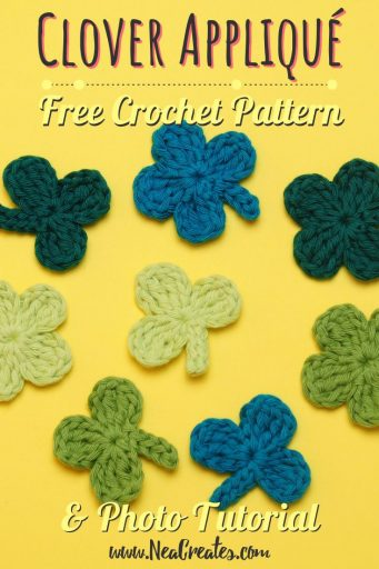Crochet these super cute Clover Appliqués for Saint Patrick's Day using this quick and easy FREE crochet pattern! #fourleafclover #crochetclover #crochetfourleafclover #freecrochetpattern | Nea Creates