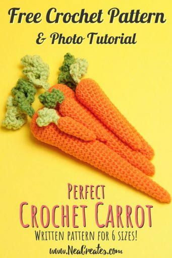 A free crochet pattern for amigurumi carrots. Written tutorial with photos for 6 different sizes! #freecrochetpattern #freeamigurumipattern | Nea Creates