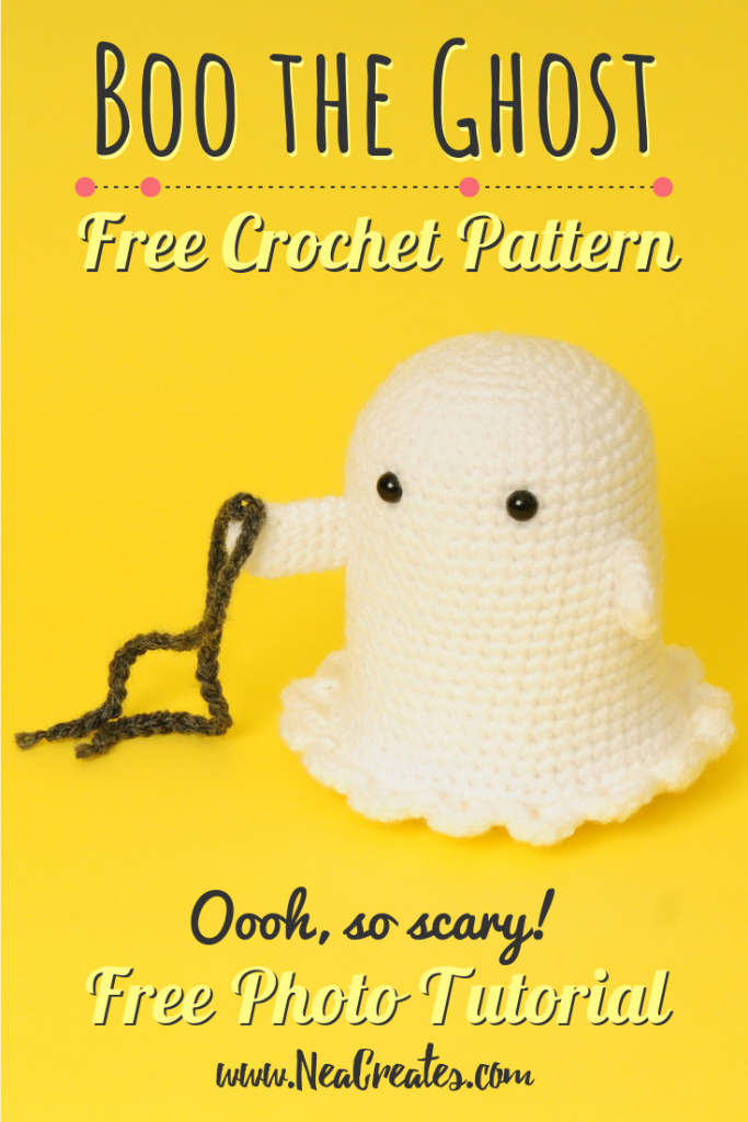 Crochet Boo the Ghost using this FREE amigurumi pattern! Easy difficulty free crochet pattern and he's so cute, rattling his (crochet) chains! #freecrochetpattern | Nea Creates